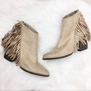 Qupid | Pointed Toe Fringe Booties